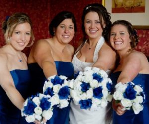 Group with wedding flowers