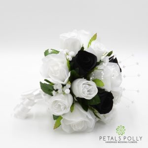 Black and white silk rose bridesmaids posy