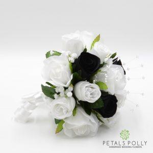 Black and white silk rose bridesmaids posy