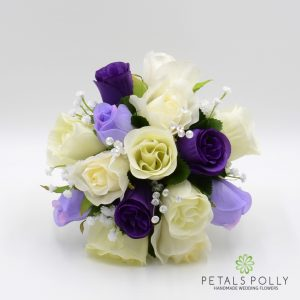 Purple lilac and ivory silk rose bridesmaids posy