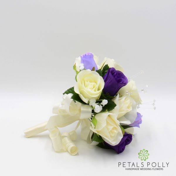Purple, Lilac & Ivory Rose Bridesmaids Posy with Crystal Stems