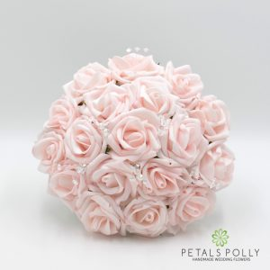blush pink foam rose bridesmaids posy