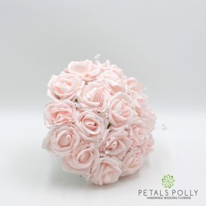 blush pink foam rose bridesmaids posy