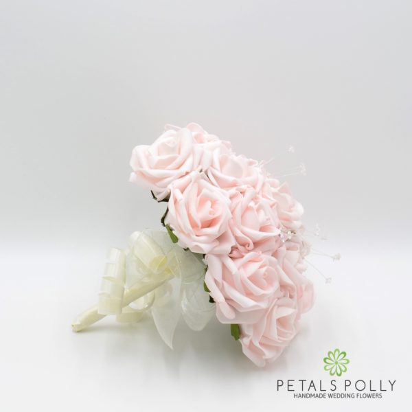 Blush Pink Rose Bridesmaids Posy with Crystal Stems