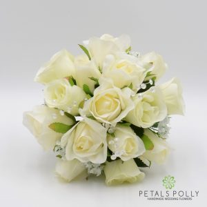cream ivory silk rose bridesmaids posy