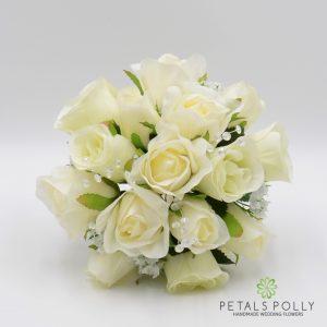 cream ivory silk rose bridesmaids posy