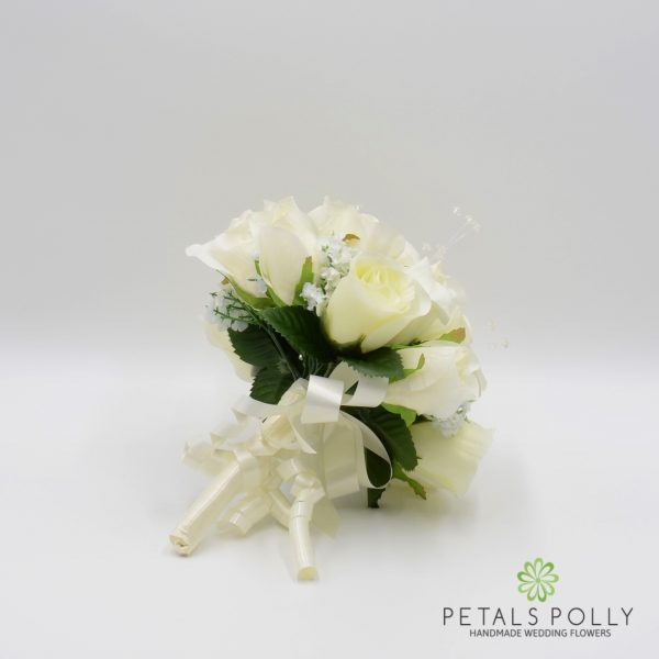 Cream Ivory Rose Bridesmaids Posy with Crystal Stems