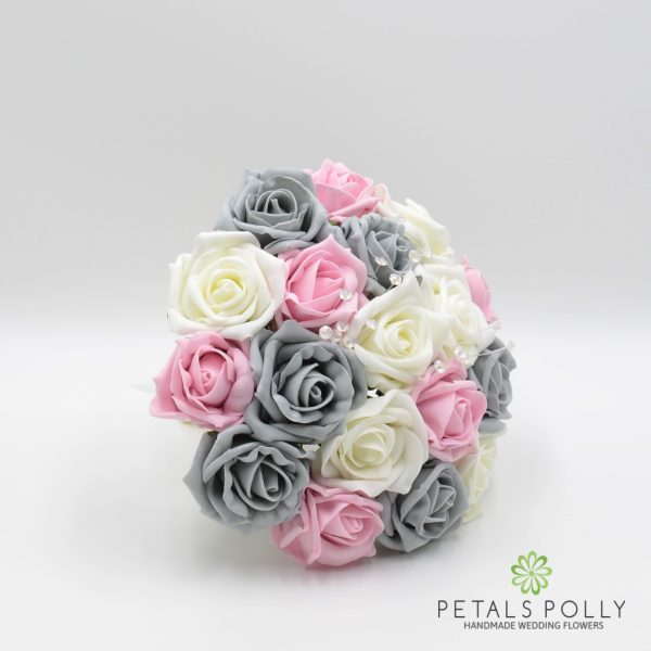 Grey, Baby Pink & Ivory Rose Bridesmaids Posy with Crystal Stems