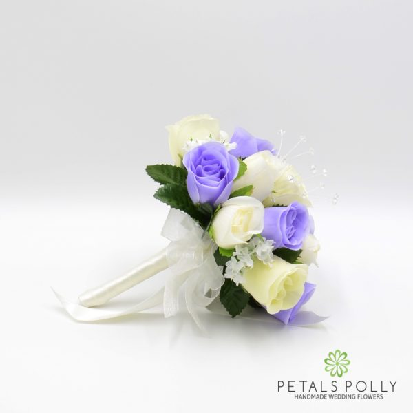 Lilac & Ivory Rose Bridesmaids Posy with Crystal Stems