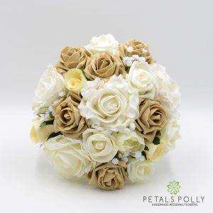 cappuccino and ivory foam rose bridesmaids posy