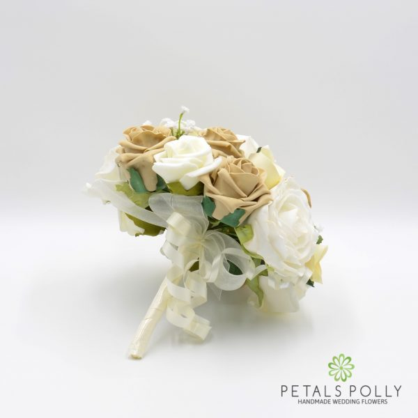 Cappuccino & Ivory Rose Bridesmaids Posy with Ranunculus