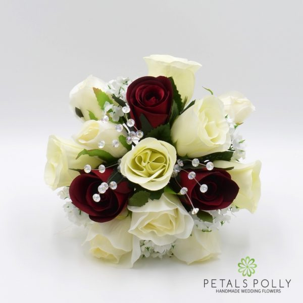 Burgundy & Ivory Rose Bridesmaids Posy with Crystal Stems