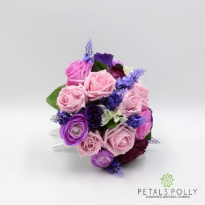 Purple antique pink bridesmaids posy lavender