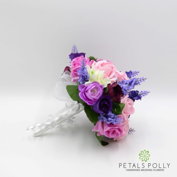 Purple & Antique Pink Rose Bridesmaids Posy with Ranunculus & Lavender