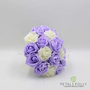 Lilac & Ivory foam rose bridesmaids posy