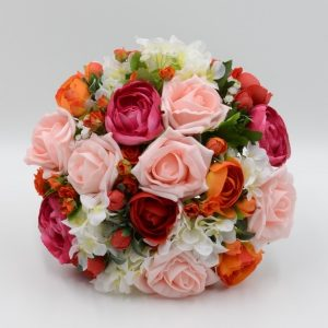 warm reds and orange wedding posy