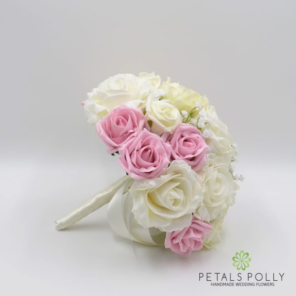 Baby Pink & Ivory Rose Bridesmaids Posy with Ranunculus