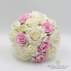 antique pink and ivory foam rose bridesmaids posy