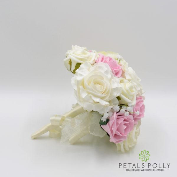Antique Pink & Ivory Rose Bridesmaids Posy with Ranunculus