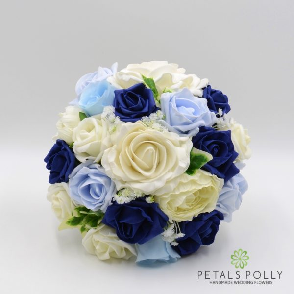 Navy Blue, Baby Blue & Ivory Rose Bridesmaids Posy with Ranunculus