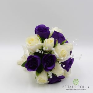 Purple and ivory silk rose bridesmaids bouquet