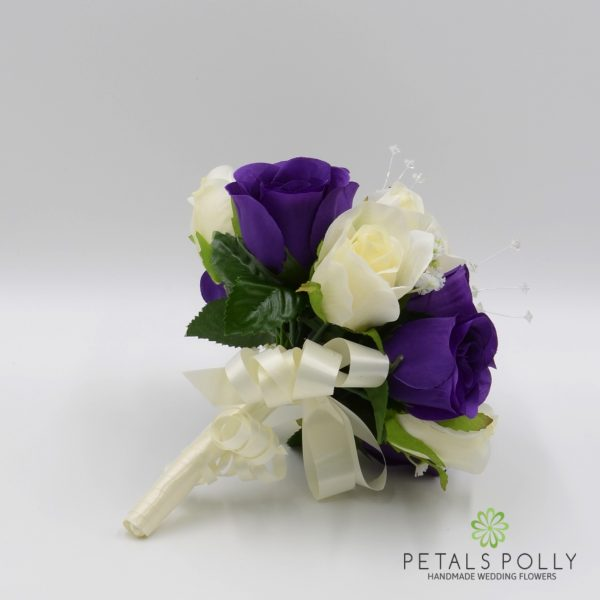 Purple & Ivory Rose Bridesmaids Posy with Crystal Stems