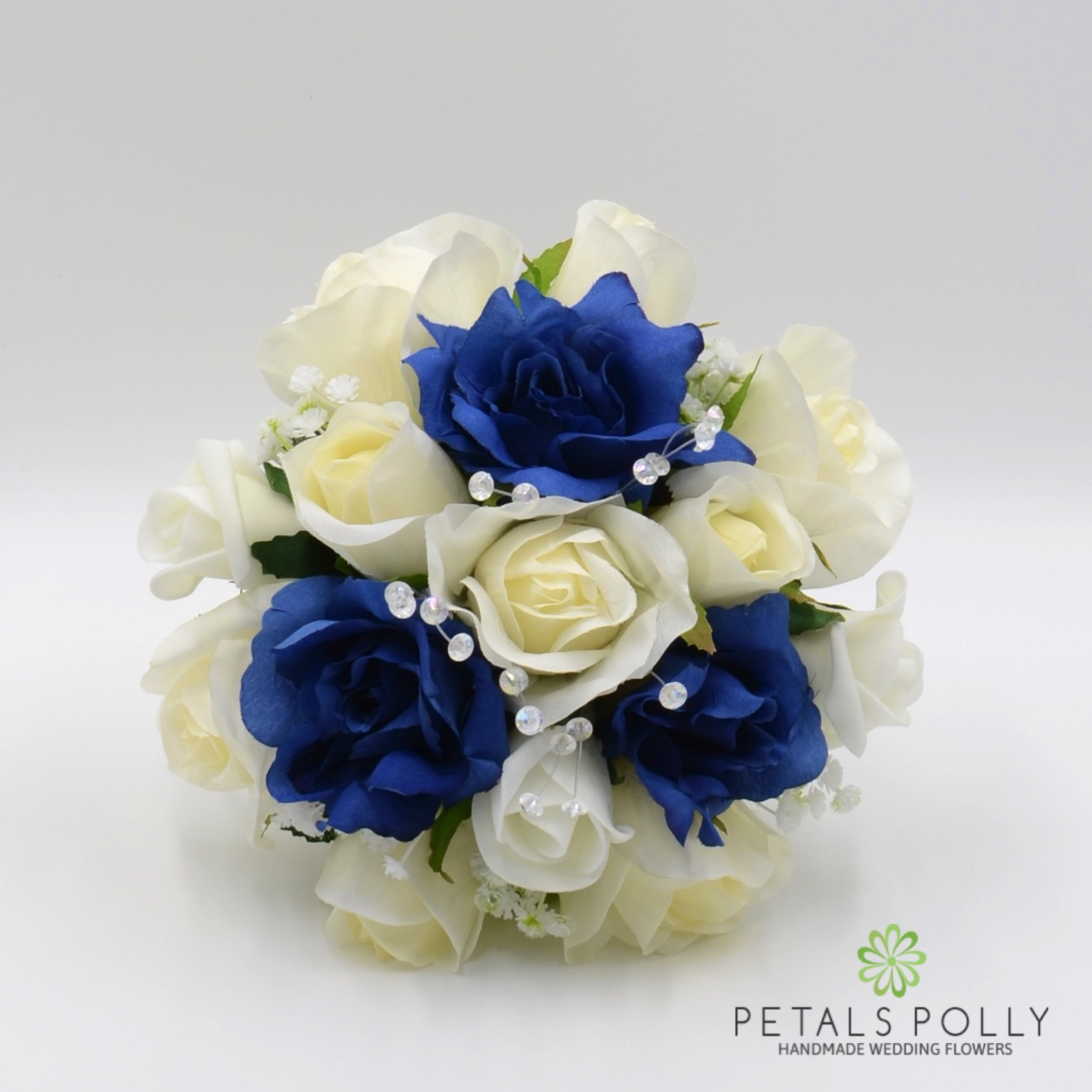 Navy Blue Ivory Rose Bridesmaids Posy With Crystal Stems