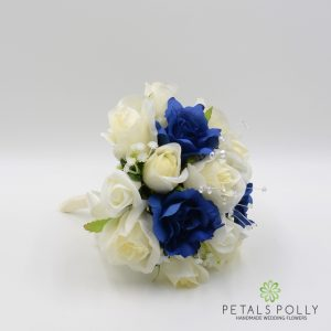 navy blue and ivory silk rose bridesmaids posy