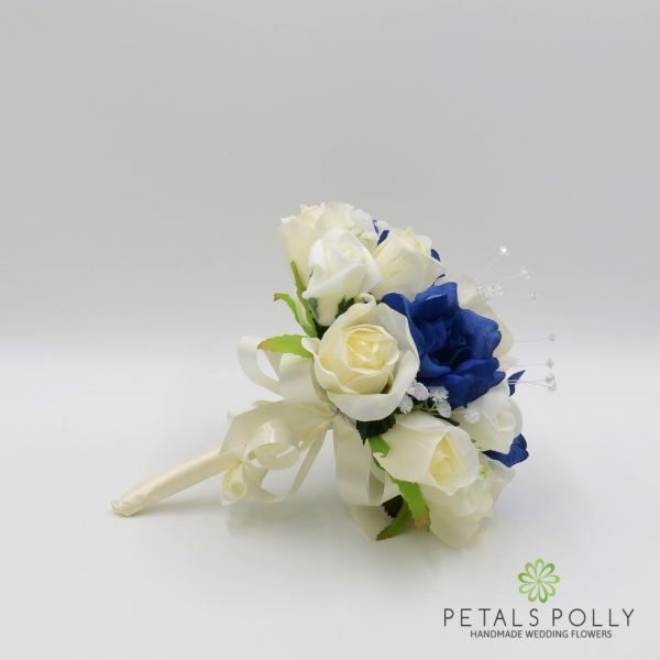 Navy Blue & Ivory Rose Bridesmaids Posy with Crystal Stems