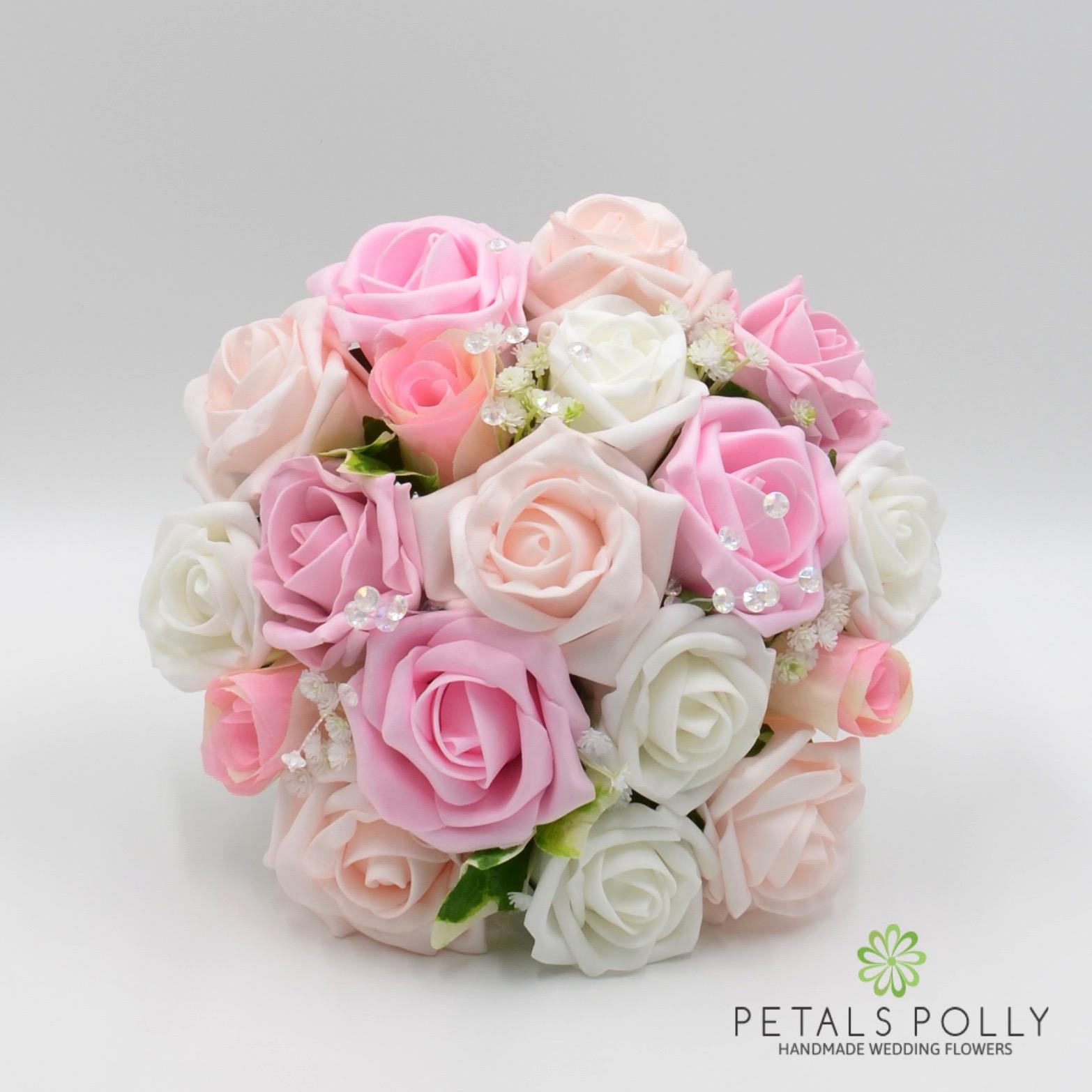 Baby Pink Antique Pink Blush Pink White Rose Bridesmaids Posy