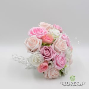 pink and white foam rose bridesmaids posy