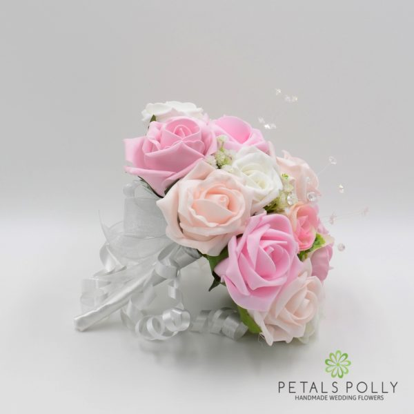 Baby Pink, Antique Pink, Blush Pink & White Rose Bridesmaids Posy
