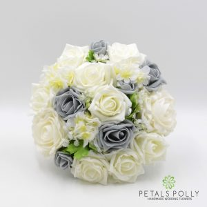 grey and ivory foam rose bridesmaids bouquet