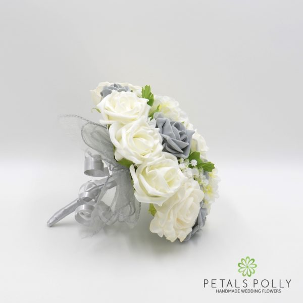 Grey & Ivory Rose Bridesmaids Posy with Ranunculus and Hydrangea