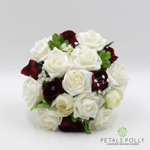 burgundy and ivory foam rose bridesmaids posy