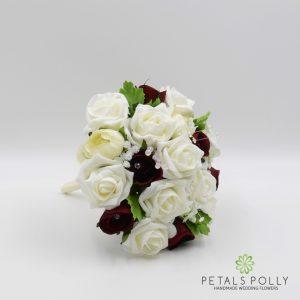 burgundy and ivory foam rose bridesmaids posy