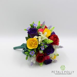 multi coloured silk rose bridesmaids boquuet