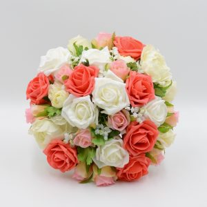 orange and white wedding posy