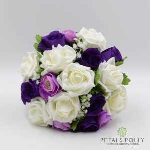 purple lilac and ivory rose bridesmaids posy