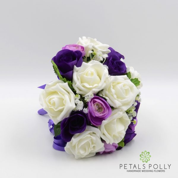 Purple, Lilac & Ivory Rose Bridesmaids Posy with Ranunculus