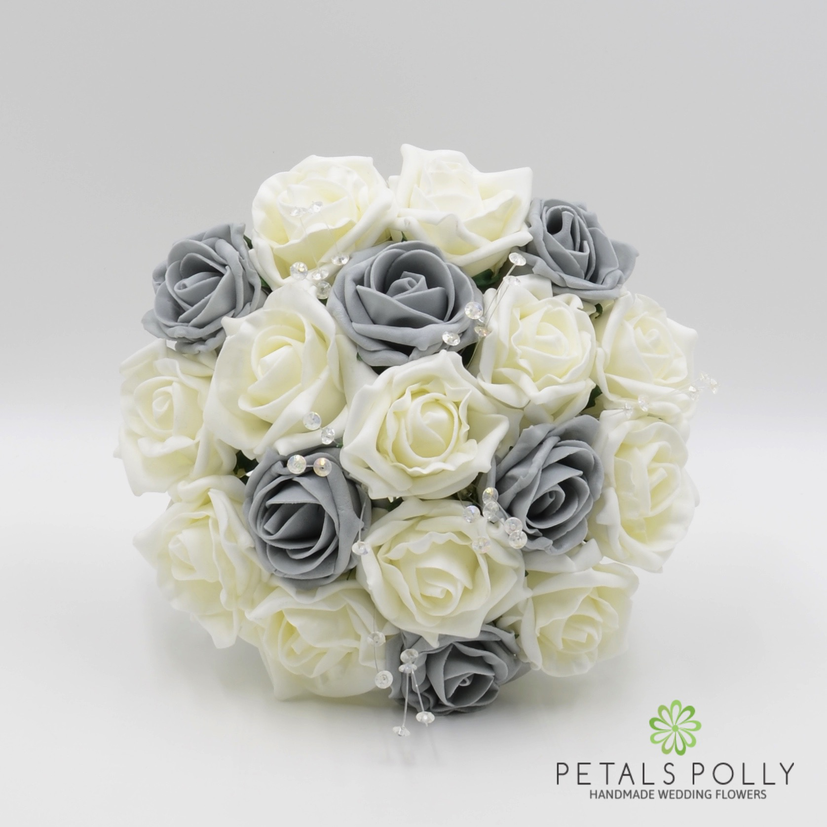 Grey & Ivory Rose Bridesmaids Posy with Crystal Stems -