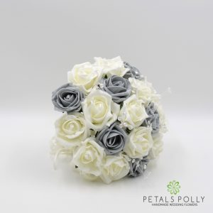 grey and ivory foam rose bridesmaids posy