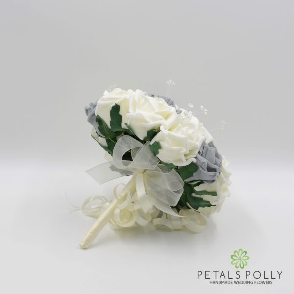 Grey & Ivory Rose Bridesmaids Posy with Crystal Stems