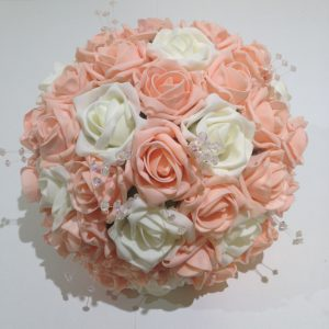 pink and white wedding posy