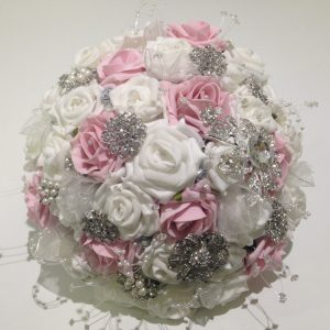 grey white and pink posy