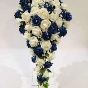 Blue and white artificial flowers