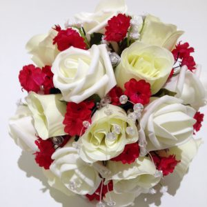 Red and white rose posy made in the UK