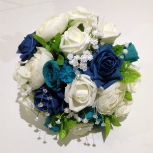 blue and white rose posy