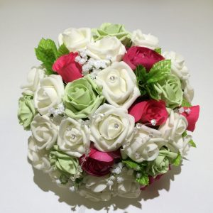 green white and red wedding posy