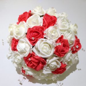 Red and white rose wedding posy